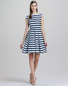 mariella striped cap-sleeve dress by kate spade new york at Neiman Marcus.