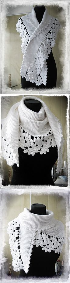 Combined crochet and knitting: floral lace tape as edging and Baktus, a very simple knit shawl in garter stitch. Gilet Crochet, Crochet Lace Edging, Knitted Shawls, Crochet Scarves, Crochet Shawl, Irish Crochet, Crochet Clothes, Knit Crochet, Knitting Patterns