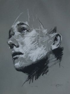 Guy Denning (born is a self taught English contemporary artist and painter based in France. He is the founder of the Neomodern. Life Drawing, Painting & Drawing, Abstract Portrait Painting, Charcoal Portraits, Face Sketch, Sketch Drawing, Abstract Painters, Abstract Art, A Level Art