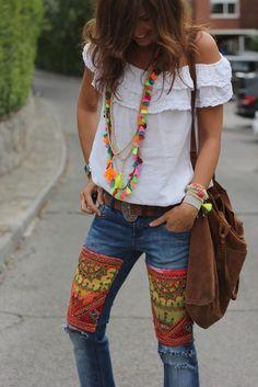 Adorable bohemian hippie look. | Bohemian Style