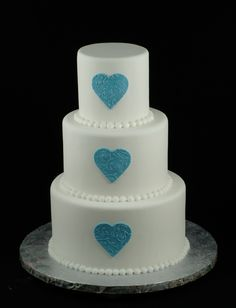 Triple blue hearts cake
