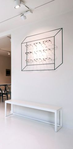 Via NordicDays.nl | Inspiring Optometrist Store in Belgium #optician Display Lighting, Display Wall, Visual Display, Display Design, Store Design, Retail Merchandising, Exhibition Display, Retail Interior, Store Interiors