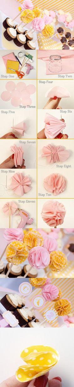 DIY Fabric Flower Cupcake Topper