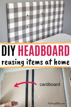 Cheap DIY Upholstered Headboard with Tufting for $10 Cardboard Headboard, Cheap Diy Headboard, How To Make Headboard, Diy Cardboard, Diy Full Size Headboard, Homemade Headboards, Diy Headboards, Upholstered Headboards, Ikea