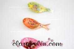 Manualidades con los niños: pintar cucharas de plástico: peces - Inspiraciones: manualidades y reciclaje