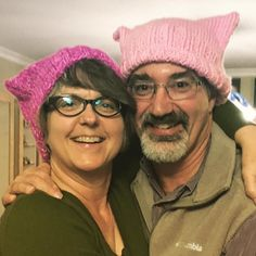 Rocking the #pussyhatproject hats that Jeff and I made. In all we made 16 hats for the D.C. women's march.