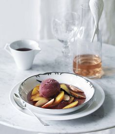 Pinot and vanilla sorbet with peach salad