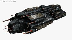 3D - Spaceship Frigate for Game Design by Angryfly3D.deviantart.com on @DeviantArt