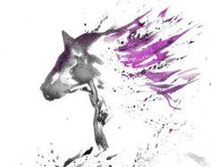 Zen Horse Art Watercolor Print 8x11 Animal Horse by mallalu
