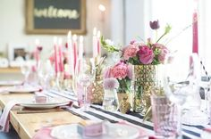 If you are dreaming of a chic and stylish bridal shower to celebrate your upcoming nuptials, this chic black, pink and gold theme will have you covered in no time. #tablesettings #bridalshower #chic #stylish