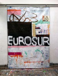 Hermann Josef Hack, EUROSUR, painting on refugee tent/tarpaulin, 2013