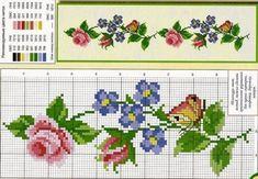 Cross Stitch Bookmarks, Cross Stitch Borders, Cross Stitch Flowers, Cross Stitch Embroidery, Polymer Clay Canes, Stitch Patterns, Needlework, Charts, Delicate