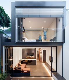 The term duplex comes from double or duplicate. This means that a duplex house is nothing more than a building style with two or more floors connected by Loft Design, Modern House Design, Design City, Terrace Design, Casas Containers, Narrow House, Loft House, Minimalist Home, Exterior Design