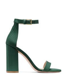 Stuart Weitzman The Sandal In Evergreen Woven Fabric Emerald Green Shoes, Green Sandals, Green Heels, Green Purse, Stuart Weitzman, Bridesmaid Shoes, Prom Shoes, Evening Shoes, Crazy Shoes