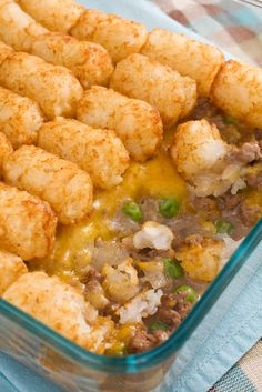 1 Lb Ground Beef  1 Pkg Wylwood® Potato Puffs  1 Can Kaskey's® Cream Of Mushroom Soup  1 Pkg Wylwood® Broccoli Cuts  1 Pkg Coburn Farms® Sharp Cheddar Cheese  Directions  Brown hamburger, drain, mix with mushroom soup and add cooked broccoli. Place one layer of tater tots on top of broccoli and cover w/cheddar cheese. Bake in a 2 qt casserole dish at 350 degrees for 30 minutes.
