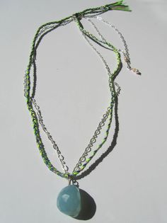 Neon Friendship Necklace - Chalcedonay, silk chord and sterling silver chain  Available at: www.oncefound.co.uk