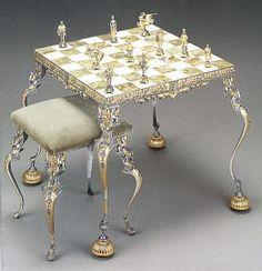 Italian, chess table (Firenze). Rather ornate Onyx table, stools, and chess pieces. Cost: 4980 EUR