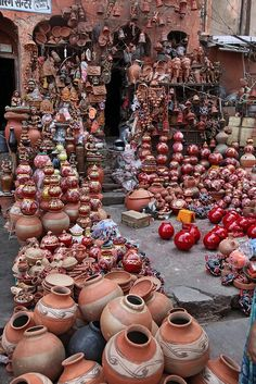 """ Incredible India..pots made of terracota """