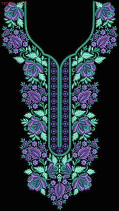 Neck #Kurties #EmbroideryDesigns #tedeex #embfile #embroidery Embroidery On Kurtis, Kurti Embroidery Design, Embroidery Neck Designs, Embroidery Works, Embroidery Suits, Embroidery Patterns, Dress Neck Designs, Blouse Designs, Crystal Embroidery