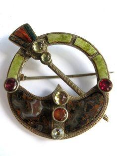 Rare Antique 1847 Irish Celtic Kilt Sterling Silver Brooch Pin Stamped Hallmark