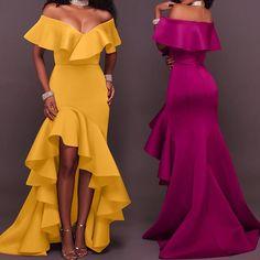 Asymmetrical Frills Off Shoulder Dip Hem Bodycon Maxi Dress Source by yolandangeles dresses classy Gala Dresses, Homecoming Dresses, Dress Outfits, Evening Dresses, Fashion Outfits, Dress Fashion, Ankara Dress, African Dress, Dinner Outfits