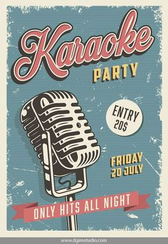 """SAVE """"Rock & Roll Bundle"""" Vintage Karaoke Party bright poster with . - SAVE """"Rock & Roll Bundle"""" Bright poster of the vintage karaoke party with concert microphone. Jazz Poster, Poster Sport, City Poster, Poster Retro, Blue Poster, Karaoke Party, Posters Decor, Event Posters, Movie Posters"""