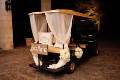 Wedding Golf Cart Depature    www.seaisland.com #seaisland #events