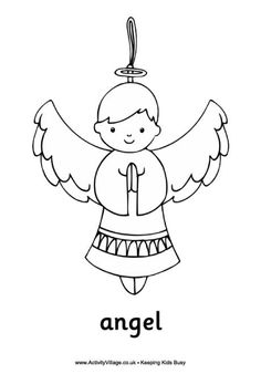 Nativity printables coloring pages some you can cut out for Angel coloring pages print out