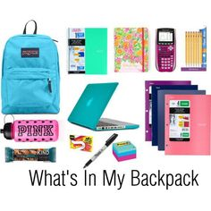 S in my backpack organization tips what's in my backpac Middle School Supplies, Middle School Hacks, High School Hacks, College School Supplies, School Kit, School Bag Essentials, Backpack Essentials, Backpack Organization, School Organization