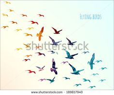 Colorful silhouettes of flying birds, vector illustration - stock vector