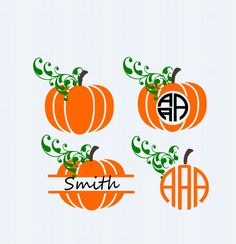 Fall Pumpkins SVG, DXF, EPS, circle monogram cutting files. for use with…