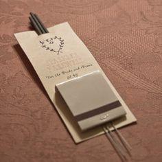 Wedding sparklers diy with matchbook keepsake. cute