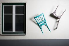 A series of clothes hangers created by chairs. The pieces are cut and suspended upside down on a wall, in a way which gives the impression that they are sinking in it. The legs are heading upwards allowing us to hang clothes a.o, while the seat creates a place to leave personal objects (keys, wallet, etc).  The fact that the construction is made of used chairs, means that there is only a slight possibility to create the same model twice. Thing that makes every one of them unique. Used Chairs, Sink In, Objects, Clothes Hangers, Construction, Interior, Keys, Wallet, Create
