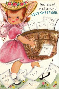 Vintage Hallmark 1960s Bushels of Wishes for a Very Sweet Girl Greetings Card (B4). $2.00, via Etsy.