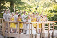Yellow Bridesmaids Dresses + Grey Groomsman Attire via Jon Good