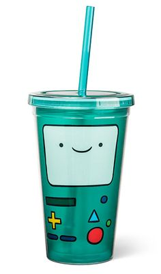 ThinkGeek : BMO Acrylic Cup with Straw http://www.thinkgeek.com/product/118d/