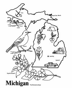 Free printable state of Michigan coloring pages showing state history, demographics, and points of interest. Michigan tradition and culture coloring pages Michigan State Flag, Michigan Colors, Map Of Michigan, Ohio, Summer Coloring Pages, Coloring Sheets For Kids, Flower Coloring Pages, Adult Coloring, Michigan Crafts