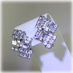 Vintage Statement Clear Rhinestone Earrings by JunkboxTreasures