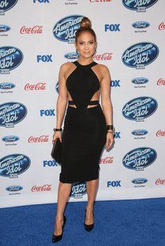 Jennifer Lopez wears black Cushnie et Ochs dress to American Idol Season 13 Finalists Party