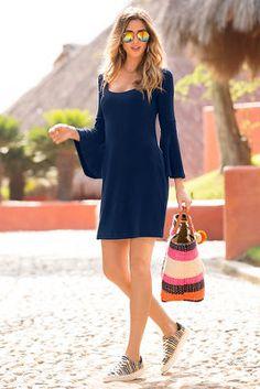 Travel flare sleeve dress