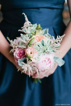Pastel & romantic Bridesmaid Bouquets with astilbe, peonies, and garden roses
