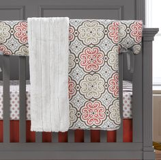 Garden Gate Receiving Blanket | Liz and Roo Fine Baby Bedding. This beautiful pattern is elegant and colorful. Gender neutral bedding for your boy or girl. Coordinates with the coral crib skirt as well!