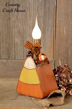 Primitive Country Fall CANDY CORN CANDLE LAMP Electric Plug Light