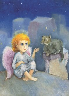 Art for kids Guardian Angel and Red cat  Fine Art Print Painting Oil Art for Children Baby room decor SFA by Mirabilitas on Etsy