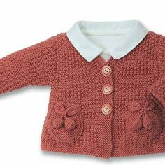 gorgeous cardigan with pocket detail Crochet Baby Sweaters, Knitted Baby Cardigan, Sweater Knitting Patterns, Knitting Designs, Knitted Owl, Baby Kind, Knitting For Kids, Baby Girl Fashion, Baby Patterns