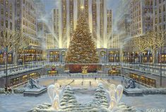 Christmas Paintings are beautiful wallpapers you can choose to decorate your computer desktop. Christmas paintings look like real painted pictures and usually have antique look, perfect for retro lovers. Holidays In New York, New York Christmas, Christmas Scenes, Christmas Angels, Christmas Time, Merry Christmas, Christmas Glitter, Christmas Countdown, Christmas Cross