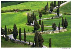 Monticchiello Road, Tuscany - Photo by Jiri Sebek  TUSCANY - WHERE I MOST WANT TO GO.