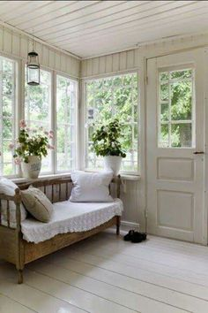 a huge fan of enclosed porches Also known as a Florida Room. Not sure - I'm a huge fan of enclosed porches Also known as a Florida Room. Not sure -I'm a huge fan of enclosed porches Also known as. White Cottage, Cottage Style, Cottage Porch, Swedish Cottage, Cozy Cottage, Sunroom Decorating, Sunroom Ideas, Porch Ideas, Enclosed Porch Decorating