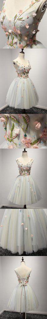 V Neckline Short Tulle Homecoming Prom Dresses, Flower Short Party Prom Dresses, Perfect Homecoming Dresses, CM206