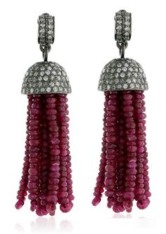 Antique Lokk 3.50ctw Rosecut diamond & Ruby Beads Unique Tassel Dangler | eBay